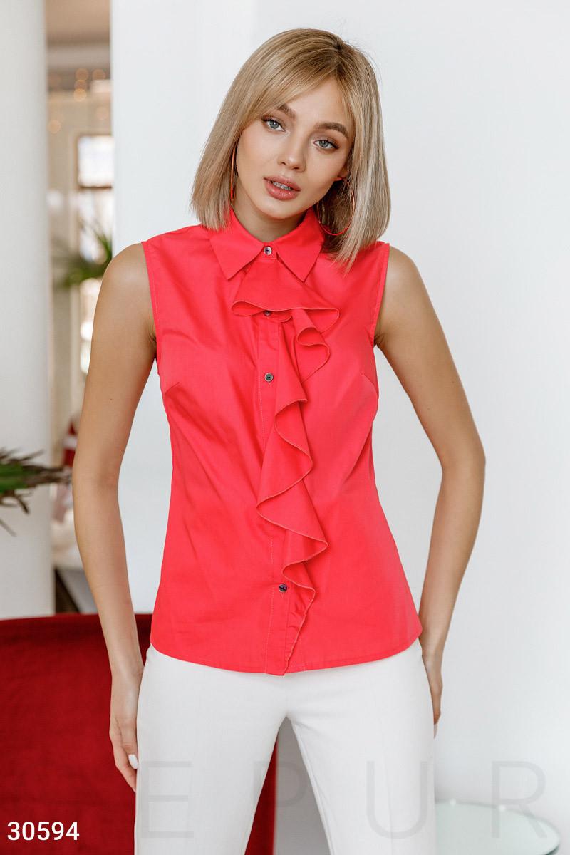 Блуза без рукавов с воланом коралловая