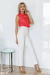 Блуза без рукавов с воланом коралловая, фото 3