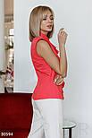 Блуза без рукавов с воланом коралловая, фото 4