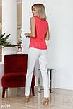 Блуза без рукавов с воланом коралловая, фото 5