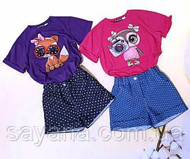 Костюм для девочки: шорты и футболка с нашивкой в расцветках. БЛ-1-0519