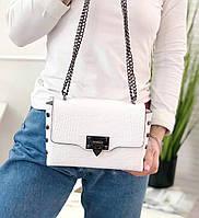 Кожаная сумка в стиле Валентино , Итальянские кожаные сумки TS000023 в белом цвете