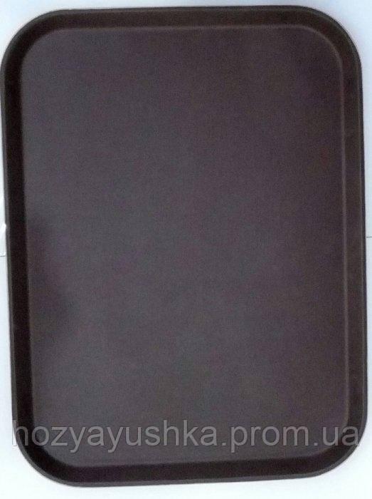 """Поднос """"Антислип"""" прямоугольный для официанта коричного цвета 400*500*17 мм EMPIRE 1347"""