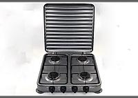 Настольный газовый таганок плита Domotec MS 6604 на 4 конфорки цвет серый