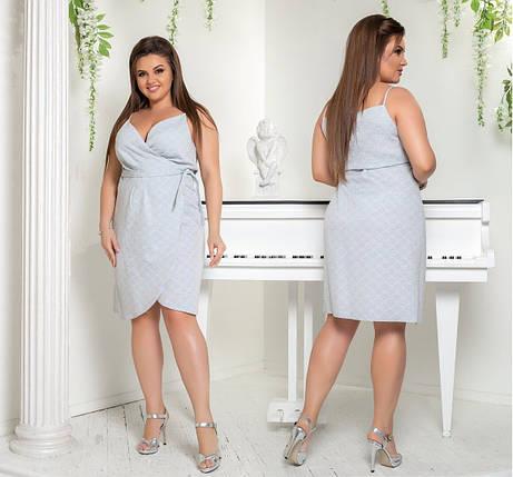 "Женское платье с запахом ""Лен"" размер 54 размер батал, фото 2"