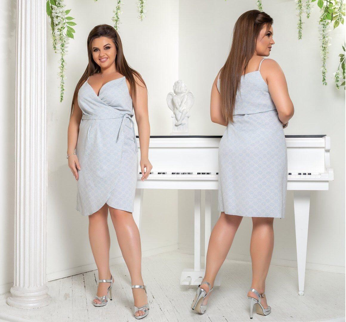 """Женское платье с запахом """"Лен"""" размер 54 размер батал"""
