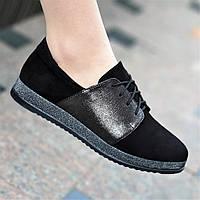 Туфли кожаные женские черные без каблука (Код: 1481)