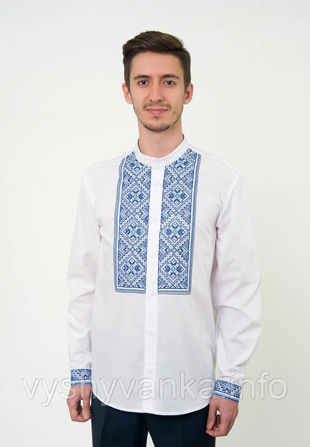 Біла сорочка вишиванка з синьою вишивкою