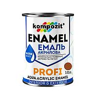 Акриловая эмаль для дерева и металла Kompozit Profi 10л (Коричневый)