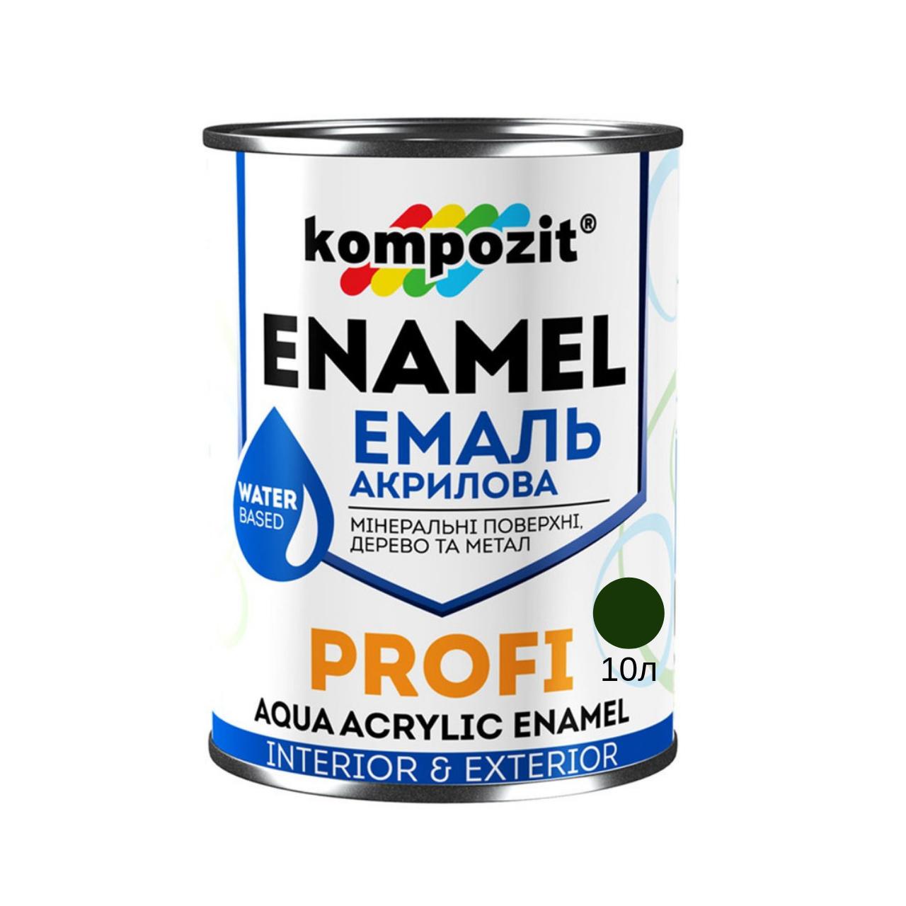 Акриловая эмаль Kompozit Profi зеленый глянец 10л