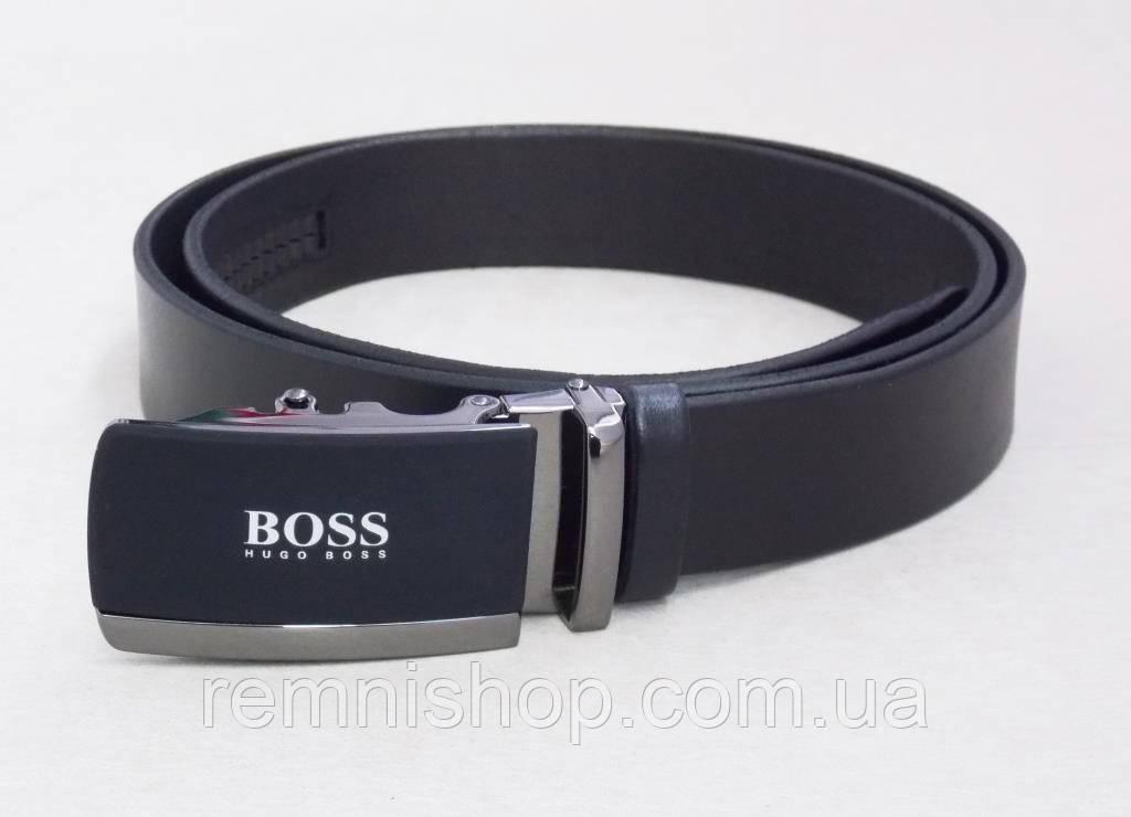Мужской ремень кожаный Hugo Boss (пряжка-автомат)