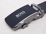 Мужской ремень кожаный Hugo Boss (пряжка-автомат), фото 4