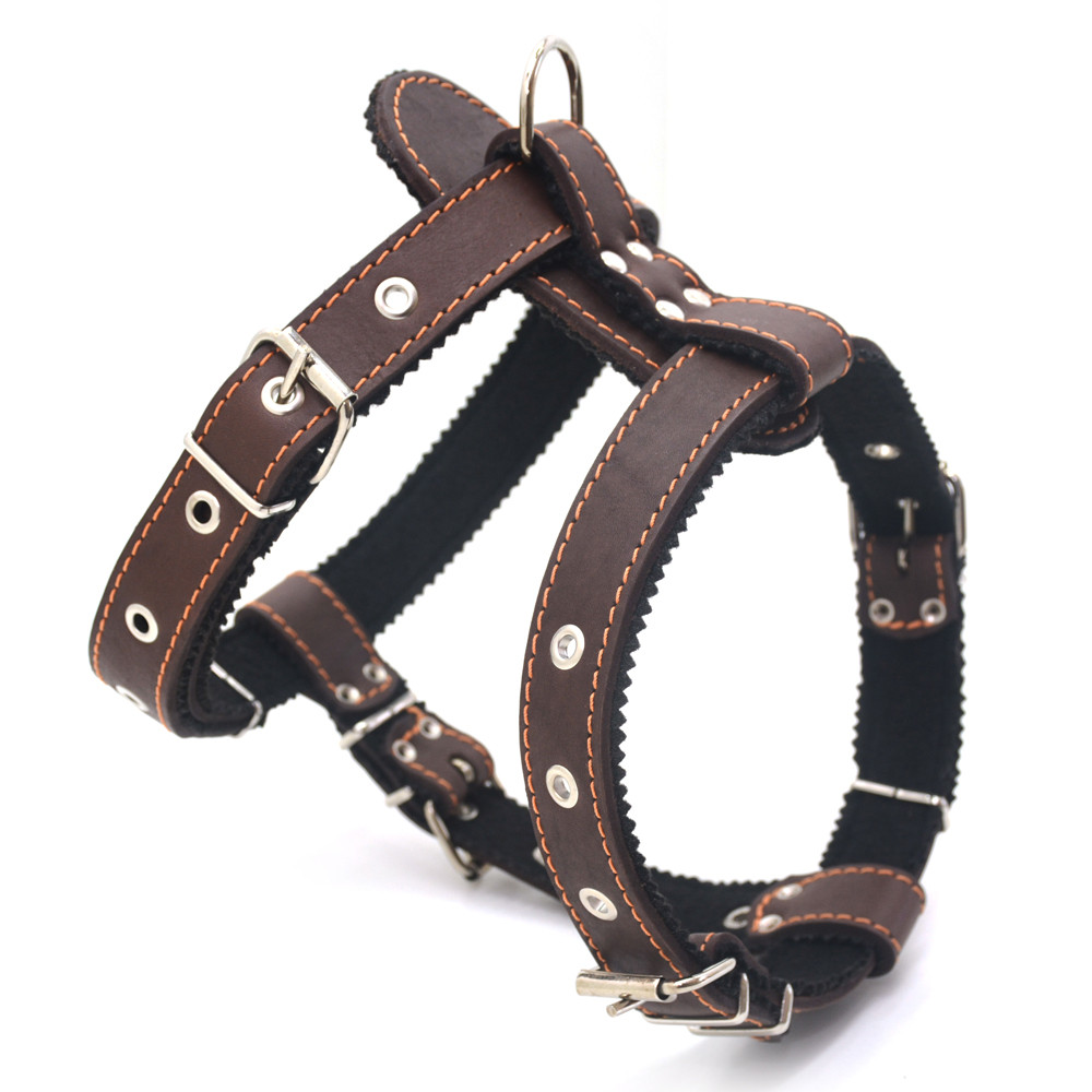 Шлея нагрудник для собак кожаная Боксер 2 коричневый