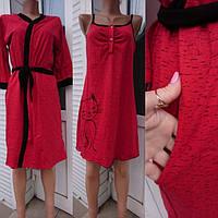 Комплект халат и ночная рубашка красного цвета для беременных и кормящих мам Кошка 48-58 р