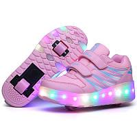Роликовые кроссовки с LED подсветкой, розовые на 2-х колёсах, размер 30,31,32,37 (LR 1202)