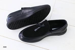 Мужские мокасины черные кожаные с замшей
