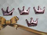 Патч корона из эко-кожи 5,5*3,7 см (розовая), фото 2