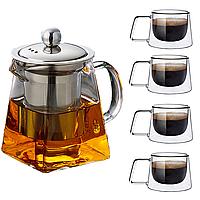 Стеклянный заварник чайник + 4 стеклянные чашки