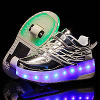 Роликовые LED кроссовки для девочки на 2-х колесах, размер 30,33,34,35,36,37 (LR 1206)