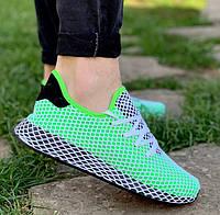 Мужские летние кроссовки Adidas Deerupt салатовые в сеточку. Живое фото. Реплика люкс ААА+