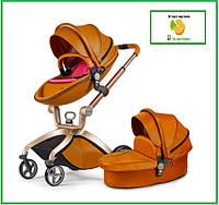 Универсальная коляска 2 в 1 Hot Mom коричневая