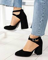 Туфли женские  с перекрестными ремешками черные, фото 1