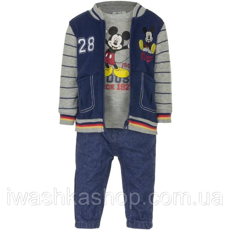 Утепленный костюм на мальчика, бомбер, лонгслив, джинсы, р. 81 на 18 месяцев, Disney baby