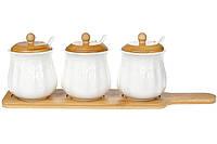 Набор (3шт) банок 300мл для сыпучих продуктов Naturel с ложками (3 шт) на бамбуковой подставке 39см (289-303)