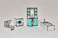 Мебель для кукольного домика NestWood ванная комната Мятная (kmb001m)