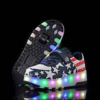 Роликовые кроссовки с LED подсветкой, американский флаг на 2-х колёсах, размер 30,31 (LR 1207)