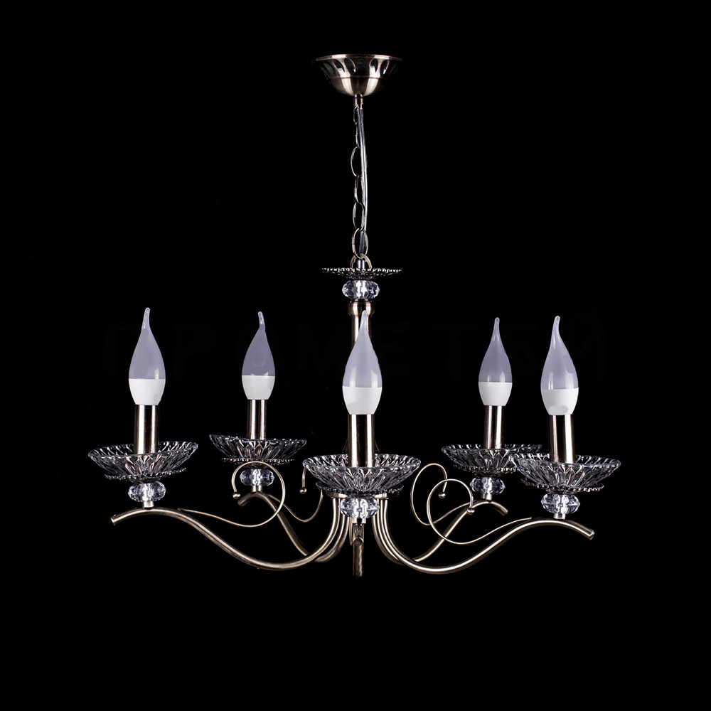 Классическая люстра-свеча на 5 лампочек СветМира PM-1496/5 (античная бронза)