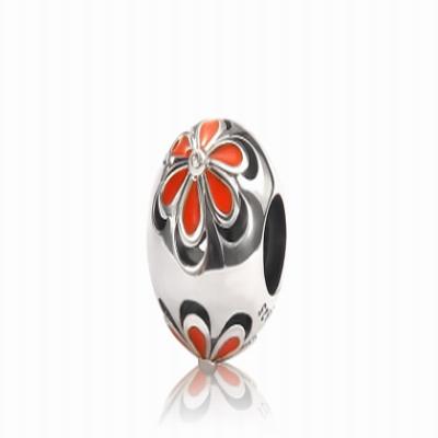 Серебряный шарм оранжевый цветок Барбарис