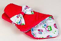 """Зимние конверты на выписку """"Нежные совушки"""" 80 х 85 см малиновый, фото 1"""