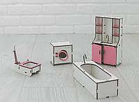 Мебель для кукольного домика NestWood ванная комната Бело-розовая (kmb001)