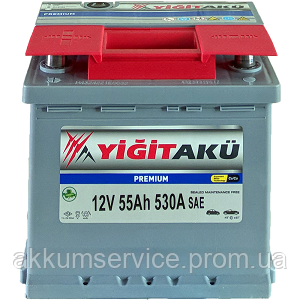 Аккумулятор автомобильный Yigit Aku Premium RED 55AH R+ 530A h175
