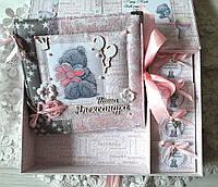 Шкатулка мамины сокровища и альбом, набор детский, шкатулка с мишкой Тедди, альбом мишка Тедди 21*21 см