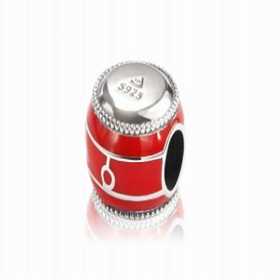 Серебряный шарм барабан с красной эмалью Барбарис