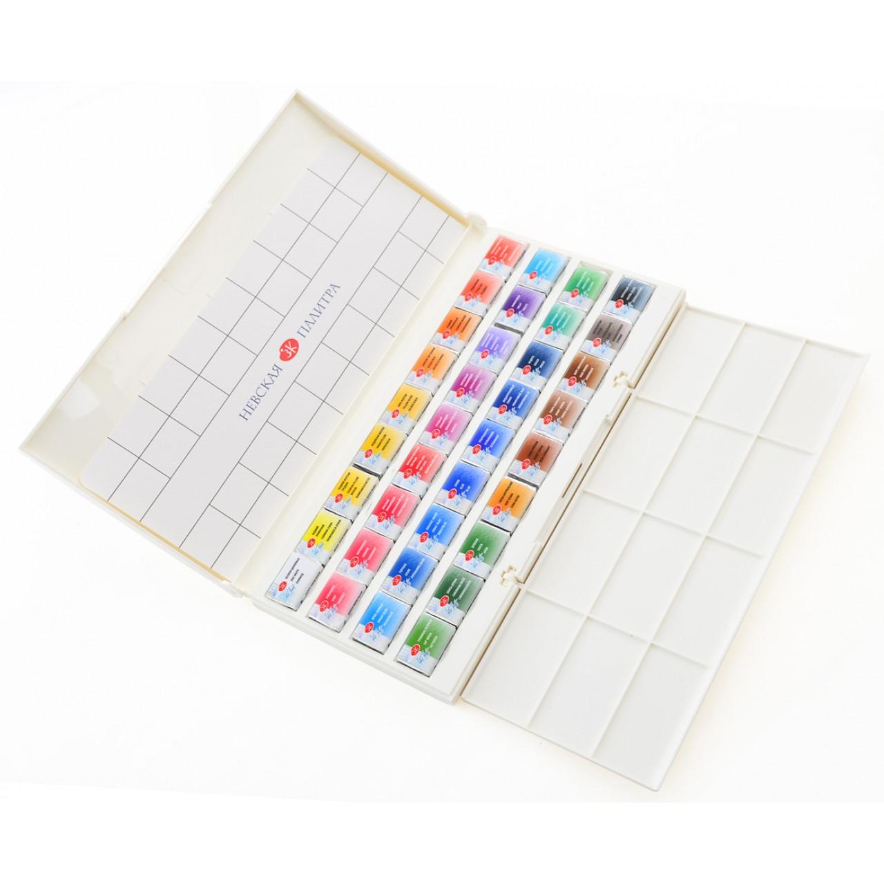 Набір акварельних фарб Білі ночі, 36 кол, пластик палітра IWS