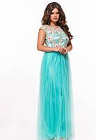 / Размер 42,44 / Женское вечернее платье в пол с фатином 29367 цвет мята