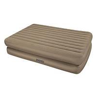 Полутороспальная надувная кровать велюр Intex 66704 2-х ярусная встроенный электронасос Бежевая (int_66704)