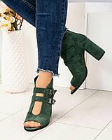 Элегантные ботильоны с открытым носком зеленые, фото 1