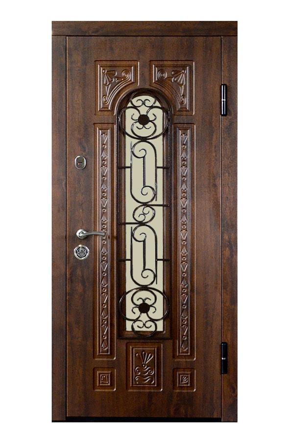 Входные двери с ковкой и стеклом ПО-139 V Дуб темный