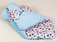 """Зимний конверт для новорожденного """"Морячок"""" 80 х 85 см голубой"""