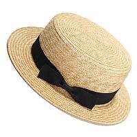 Соломенная шляпка канотье с черной ленточкой и бантиком, фото 1