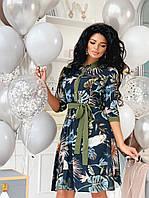 Женское Платье А-силуэта с контрастными манжетами и воротом