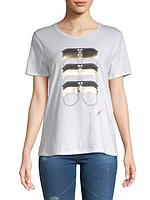 Женская оригинальная стильная белая футболка с принтом популярного бренда Karl Lagerfeld