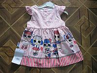Детское модное летнее платье с LOL для девочек 74, 80.  86  см Турция