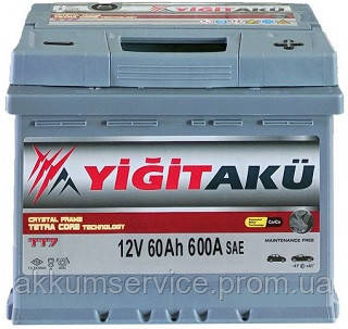 Аккумулятор автомобильный Yigit Aku Premium 60AH R+ 600A