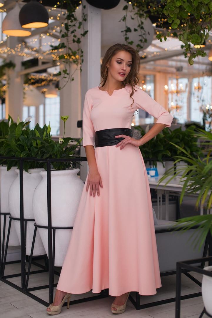 Красивое приталенное женское платье в пол под пояс  42, 44, 46, 48