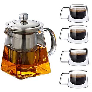 Заварник чайник + 4 скляні чашки